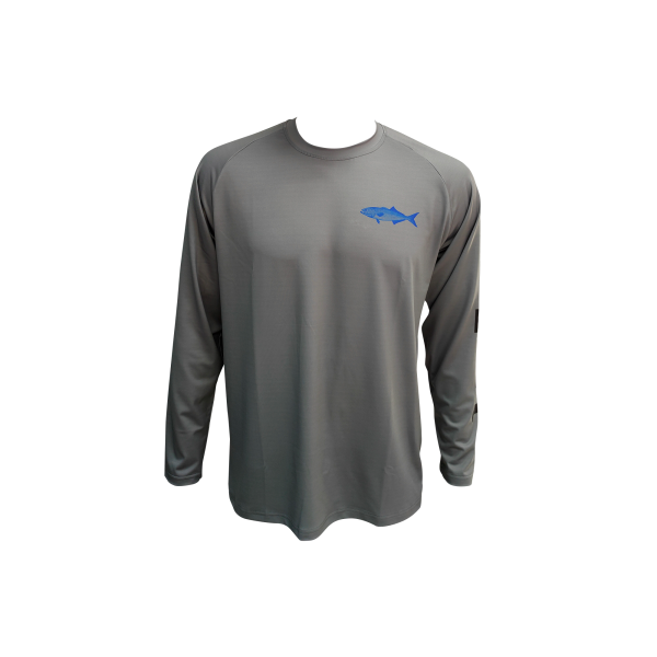 Liquid Blue Fish Gray Fishing Shirt Front