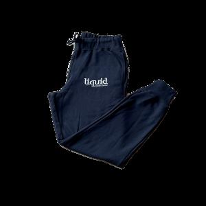 Liquid Embroidered Logo Sweatpants – Black