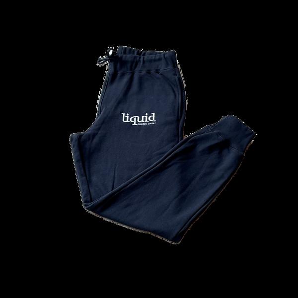 Liquid Embroidered Logo Sweatpants - Black