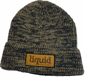 Leather Patch Beanie – Tan